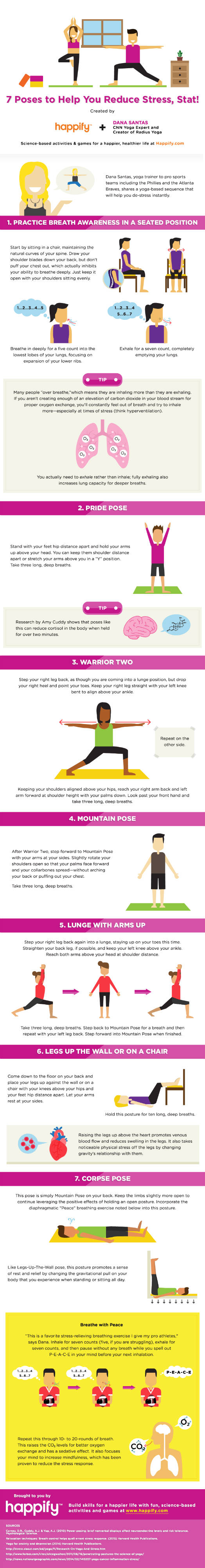7 breathing exercises and yoga poses to help you reduce stress and anxiety infographic. Black Bedroom Furniture Sets. Home Design Ideas
