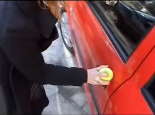 3 -She Got Locked Out Of Her Car, So She Put A Tennis Ball Over The Keyhole